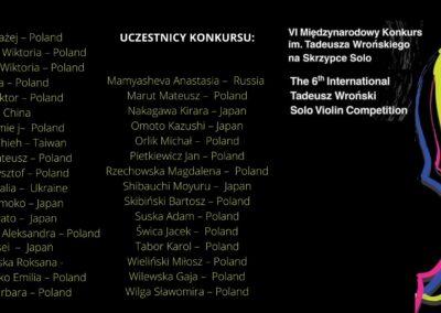 Uczestnicy VI Międzynarodowego Konkursu im. Tadeusza Wrońskiego na Skrzypce Solo