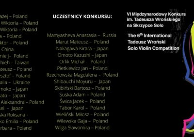 Participants of the 6th International Tadeusz Wroński Competition for Solo Violin