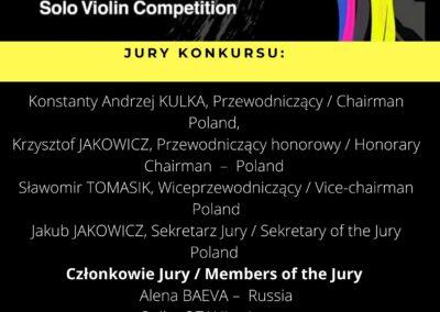 Jury VI Międzynarodowego Konkursu im. Tadeusza Wrońskiego na Skrzypce Solo