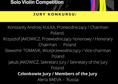 Jury of the 6th International Tadeusz Wroński Competition for Solo Violin