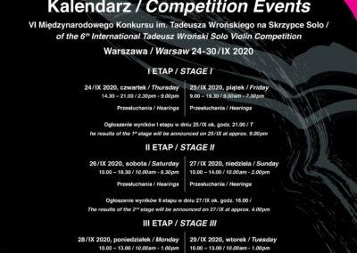 Harmonogram VI Międzynarodowego Konkursu im. Tadeusza Wrońskiego na Skrzypce Solo