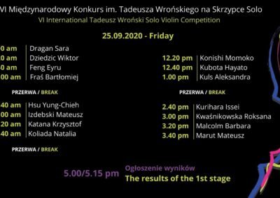 Schedule of the 1st Stage